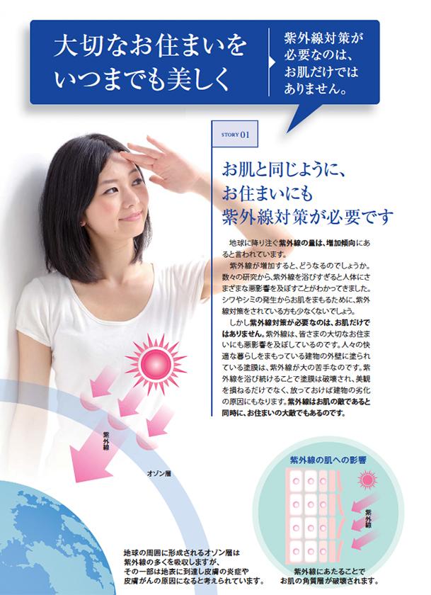 大切なお住まいをいつまでも美しく お肌と同じように、お住まいにも紫外線対策が必要です