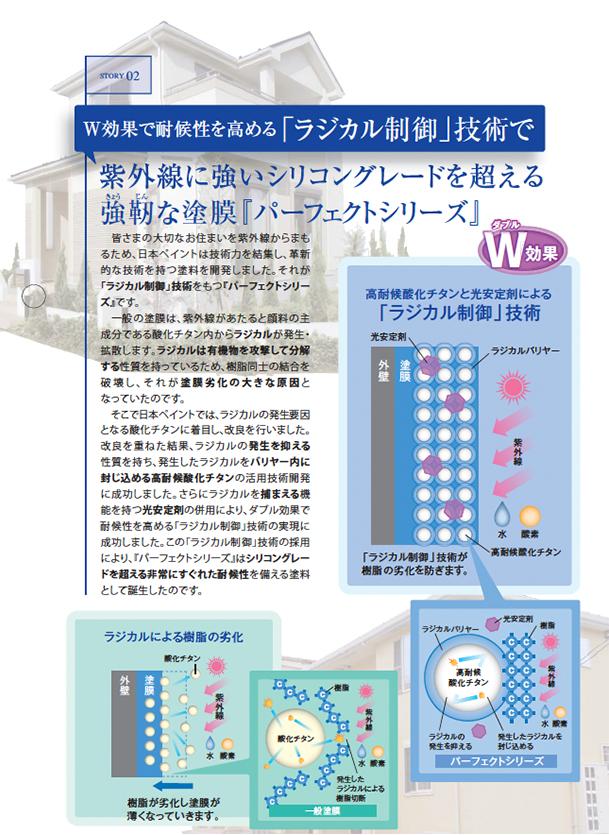 W効果で耐候性を高める「ラジカル制御技術」で紫外線に強いシリコングレードを超える強靭な塗膜『パーフェクトシリーズ』