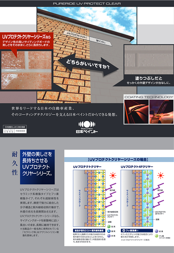 世界をリードする日本の自動車産業、そのコーティングテクノロジーを支える日本ペイントだからできる発送。外壁の美しさを長持ちさせるUVプロテクトクリヤーシリーズ