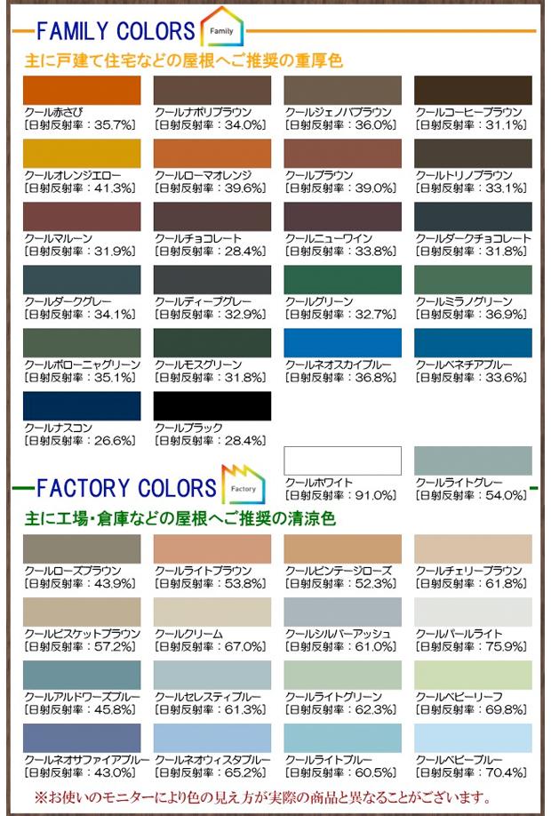 色見本:戸建て住宅などの屋根へご推奨の重厚色と、工場・倉庫などの屋根へご推奨の清涼色一覧